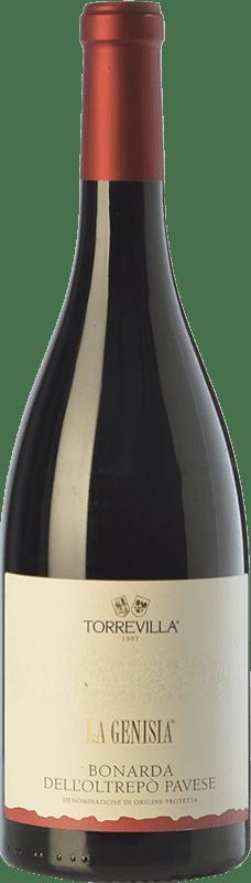 8,95 € Envío gratis | Espumoso tinto Torrevilla La Genisia Bonarda Frizzante D.O.C. Oltrepò Pavese Lombardia Italia Croatina Botella 75 cl
