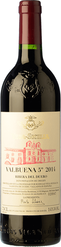142,95 € Envoi gratuit | Vin rouge Vega Sicilia Valbuena 5º año Reserva D.O. Ribera del Duero Castille et Leon Espagne Tempranillo, Merlot Bouteille 75 cl
