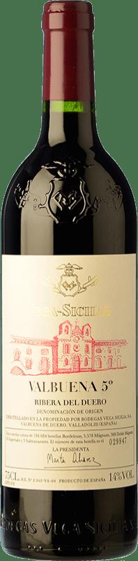 142,95 € Envío gratis | Vino tinto Vega Sicilia Valbuena 5º año Reserva D.O. Ribera del Duero Castilla y León España Tempranillo, Merlot Botella 75 cl