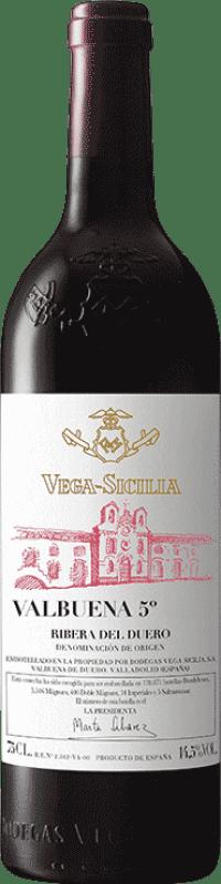 323,95 € Envío gratis | Vino tinto Vega Sicilia Valbuena 5º año Gran Reserva D.O. Ribera del Duero Castilla y León España Tempranillo, Merlot Botella Mágnum 1,5 L