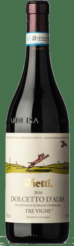 12,95 € | Red wine Vietti Tre Vigne D.O.C.G. Dolcetto d'Alba Piemonte Italy Dolcetto Bottle 75 cl
