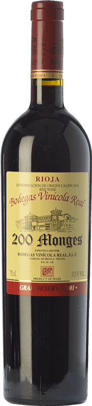 59,95 € Free Shipping | Red wine Vinícola Real 200 Monges Gran Reserva 2001 D.O.Ca. Rioja The Rioja Spain Tempranillo, Graciano, Mazuelo Bottle 75 cl
