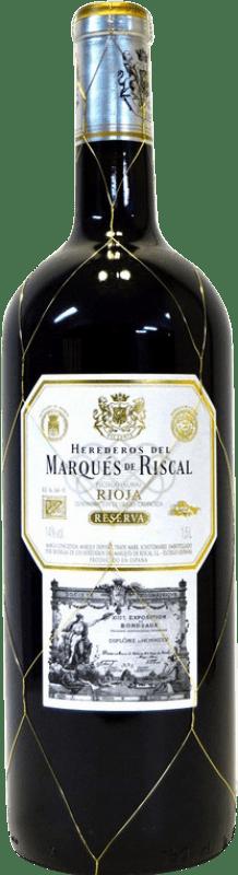 75,95 € Envoi gratuit   Vin rouge Marqués de Riscal Reserva D.O.Ca. Rioja La Rioja Espagne Tempranillo, Graciano, Mazuelo, Carignan Bouteille Jéroboam-Doble Magnum 3 L