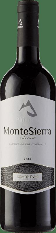 4,95 € Envío gratis | Vino tinto Pirineos Montesierra Selección Joven D.O. Somontano Aragón España Tempranillo, Merlot, Cabernet Sauvignon Botella 75 cl