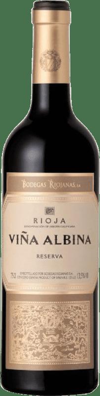 12,95 € Free Shipping | Red wine Bodegas Riojanas Viña Albina Negre Reserva D.O.Ca. Rioja The Rioja Spain Tempranillo, Graciano, Mazuelo, Carignan Bottle 75 cl
