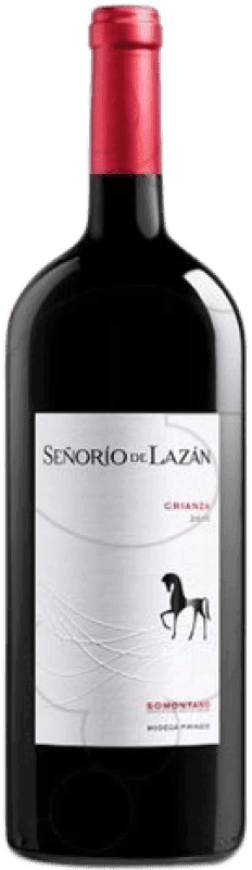 14,95 € Envío gratis | Vino tinto Pirineos Señorío de Lazán Crianza D.O. Somontano Aragón España Tempranillo, Merlot, Cabernet Sauvignon Botella Mágnum 1,5 L