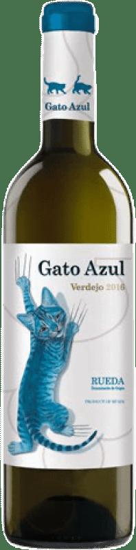 9,95 € Spedizione Gratuita | Vino bianco El Gato Azul Joven D.O. Rueda Castilla y León Spagna Verdejo Bottiglia 75 cl