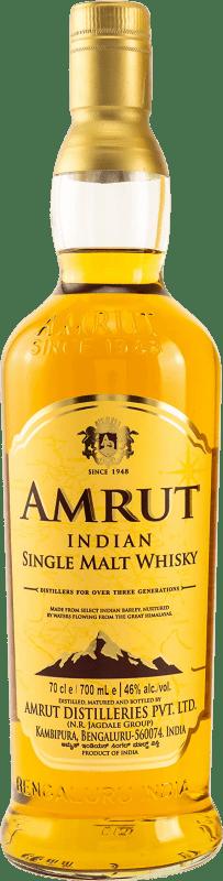 34,95 € Envío gratis | Whisky Single Malt Amrut India Botella 70 cl