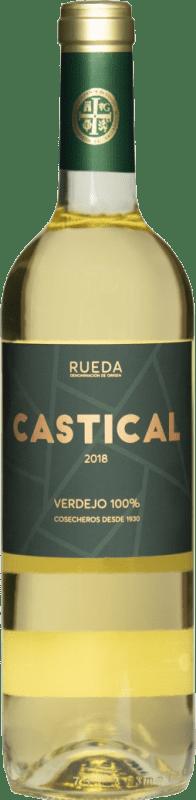 6,95 € Envío gratis | Vino blanco Thesaurus Castical Joven D.O. Rueda Castilla y León España Verdejo, Sauvignon Blanca Botella 75 cl