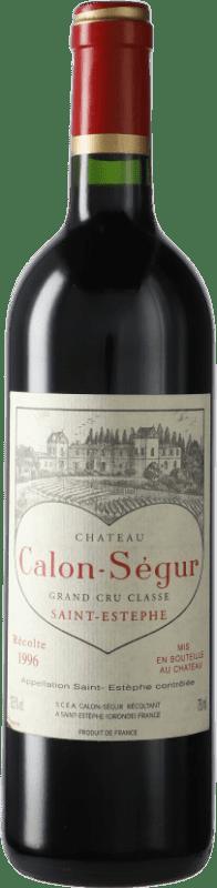 204,95 € 免费送货 | 红酒 Château Calon Ségur 1996 A.O.C. Bordeaux 波尔多 法国 Merlot, Cabernet Sauvignon 瓶子 75 cl