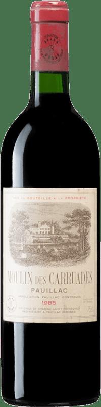 253,95 € Free Shipping | Red wine Barons de Rothschild Moulin des Carruades 1985 A.O.C. Bordeaux Bordeaux France Merlot, Cabernet Sauvignon, Cabernet Franc, Petit Verdot Bottle 75 cl