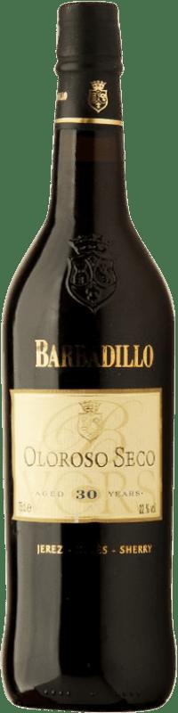 113,95 € 免费送货   强化酒 Barbadillo Oloroso V.O.R.S. Very Old Rare Sherry 干 D.O. Jerez-Xérès-Sherry 安达卢西亚 西班牙 Palomino Fino 瓶子 75 cl