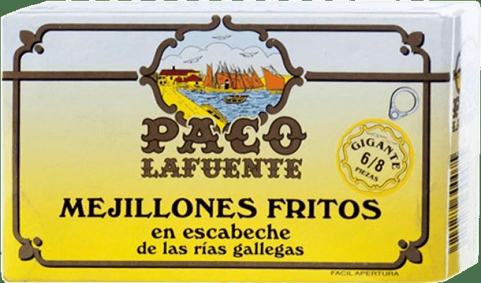 8,95 € Free Shipping | Conservas de Marisco Conservera Gallega Paco Lafuente Mejillones Fritos en Escabeche Gigante Galicia Spain 6/8 Pieces