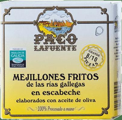 6,95 € Free Shipping | Conservas de Marisco Conservera Gallega Paco Lafuente Mejillones Fritos en Escabeche Galicia Spain 8/10 Pieces
