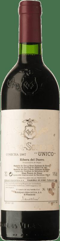 576,95 € 免费送货 | 红酒 Vega Sicilia Único Gran Reserva 1987 D.O. Ribera del Duero 卡斯蒂利亚莱昂 西班牙 Tempranillo, Merlot, Cabernet Sauvignon 瓶子 75 cl